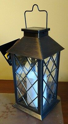 Traditional Outdoor Solar Lantern Light LED Candle Flickering Bronze Oil NEW ***