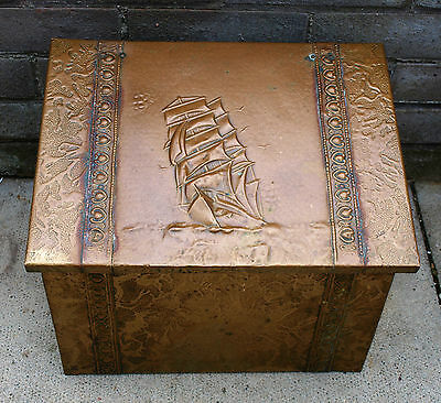 Vintage Brass Coal Bucket Log Bin