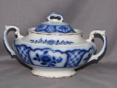 SUGAR BOWL with LID in MELBOURNE pattern FLOW BLUE by GRINDLEY ENGLAND OLD!