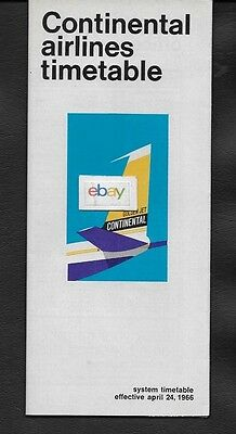 Continental Airlines System Timetable 4-24-1966 Golden Jets New Dc-9 Join Fleet