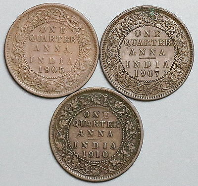 1905 1907 1910 INDIA Lot of THREE 1/4  Anna Coins (16083007R)