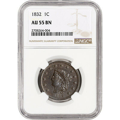 1832 US Liberty Head Large Cent 1C - NGC AU55 BN - Attractive w/ Sharp Details
