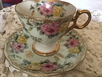 Castle Hand Painted Pedestal Cup And Saucer Japan  Aristocrat