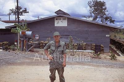 403J Original 1960's Slide U.S Soldier Camp Radcliff Camp Mess Hall Vietnam War