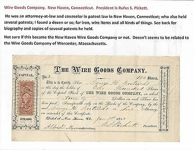 Stk-Wire Goods Co. 1868 New Haven, CT. #2  See images 4-6  s/p Rufus S. Pickett