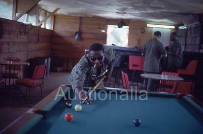 430J Original 1960's Slide African American US Soldier Playing Pool Vietnam War