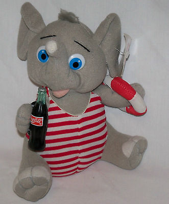 """8"""" Elephant Lifeguard Coca Cola Brand Plush Collection Play by Play Coke Bottle"""