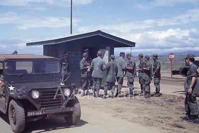 442J Orig 1960's Slide Military Jeep Checkpoint An Khe Soldiers MP's Vietnam War