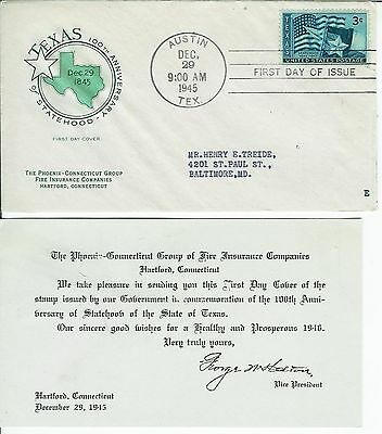 Austin Texas 100th Anniv. Statehood 938 Phoenix Insurance Co FDC + Original Card