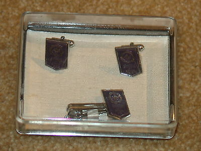 1971 world jamboree cuff links and tie bar in package