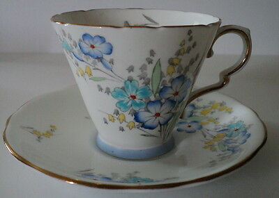 Vintage Royal Stafford Bone China Footed Teacup & Saucer - Floral W/ Gold