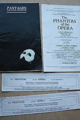Pantages Theartre Program Phantom Of The Opera + Extras