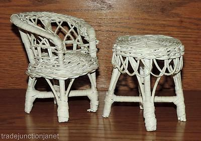 "VINTAGE WHITE WICKER DOLLHOUSE DOLL FURNITURE - 4.75""h CHAIR & 4""h TABLE"