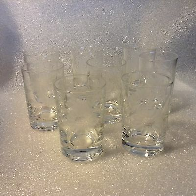"4 WJ HUGHES  CORNFLOWER Heavy Bottom OLD FASHION GLASSES 3-3/8th"" NICE CONDITION"