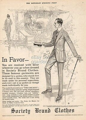 1914 Society Brand Clothes The Chicago Men's Suit 1920s Fashion/Fashion Ad