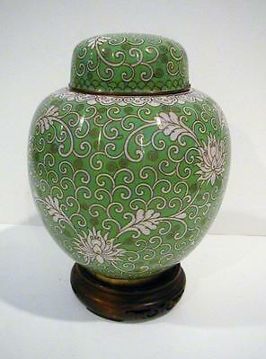 Antique Chinese Export Cloisonne Ginger Jar Signed in Red China