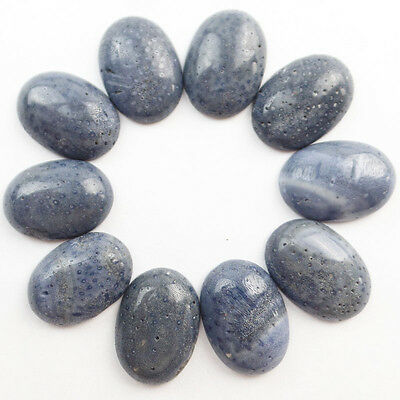 10Pcs Gorgeous Blue Coral Oval CAB CABOCHON (Send Randomly) 25x18x6mm Z2012