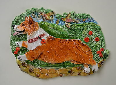 Corgi.  Handsculpted ceramic wall plaque.Small.   .OOAK .LOOK