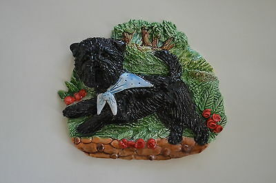 Affenpinscher. Handsculpted ceramic wall plaque.. .OOAK !LOOK