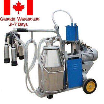 (Ship from Canada) Electric Milking Machine Farm Cow+ Bucket Vacuum Piston Pump
