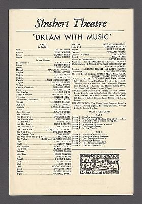 "Vera Zorina ""DREAM WITH MUSIC"" June Knight 1944 Musical FLOP Tryout Broadside"