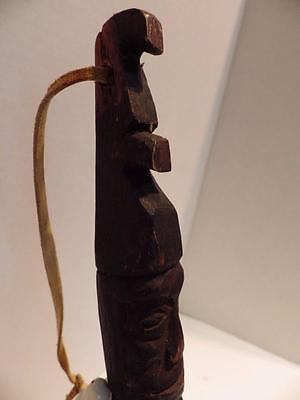 Antique African Wood Paddle Scoop Carved Head Face Leather Thong