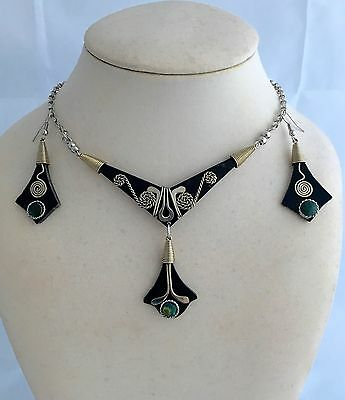 Bull's Horn and Turquoise Necklace Earrings Set Peruvian Alpaca Silver
