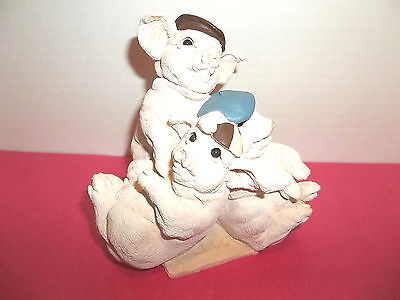 Cluster of 3 Pigs Figurine Stone Critters 1991 - Made in USA