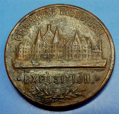 SWASTIKA on 1928 CINCINNATI INDUSTRIAL EXPO Medal-Good Luck Token 30mm ME6259