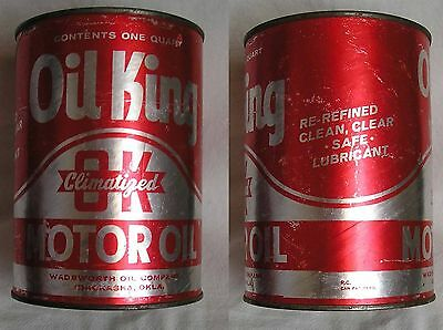 Old Vintage Oil King Motor Oil 1 One Quart Can Chickasha Oklahoma Wadsworth Co.