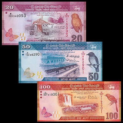 Sri Lanka Set 3 PCS, 20+50+100 Rupees, 2015, P123 124 125, UNC