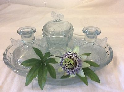 Beautiful Vintage Glass Ladies Dressing Table Set ,Glass Has a Butterfly Design