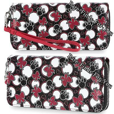 """Disney Parks """"Minnie Mouse"""" Loves Dots Icons and Bows Wristlet Zipper Wallet NEW"""