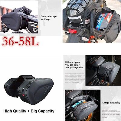 New Motorcycle Pannier Bags Luggage Saddle Bags with Rain Cover Universal 36-58L