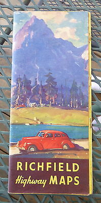 1940 California Arizona NV OR WA  road  map Richfield  oil gas route 66 booklet
