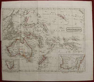 Australia New Zealand Pacific Islands 1850 Anonymous Antique Copper Engraved Map