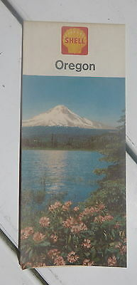 1962 Oregon  road  map Shell  oil gas early interstate
