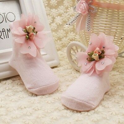 Hot Infant Newborn Baby Girls Cute Lace Flower Socks Soft Slipper Sole Shoes