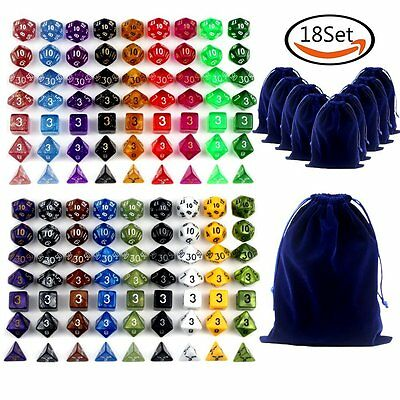 18 Sets Colors Polyhedral Dice & 18 Free Bags For Dungeons And Dragons Dice ZP
