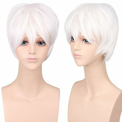 Hot White Sale Unisex Anime Fashion Short Straight Full Wigs Cosplay Party