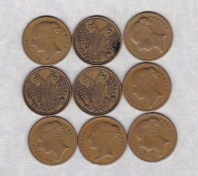 15 In Memory Of The Good Old Days Tokens In Near Mint Condition With Staining