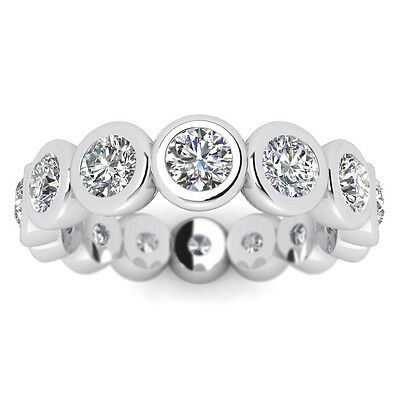 5.2ct D/SI NATURAL Diamond Eternity Wedding Band Ring 14K White Gold SIZE 4.75