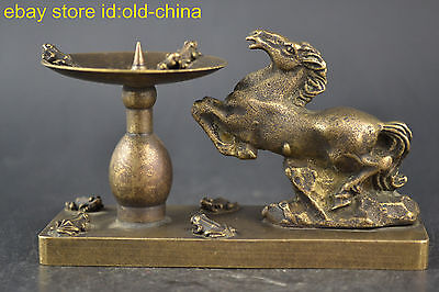 China Collectible Decor Old Copper Horse Statue Noble Candlestick Vintage