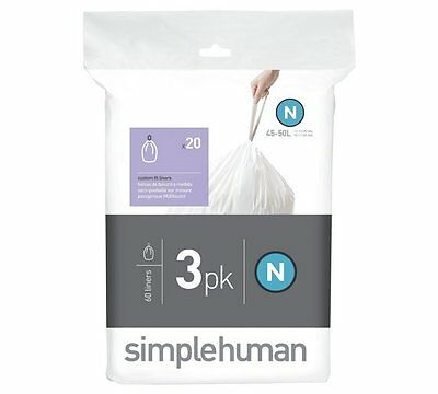60 (3 Packs x 20) simplehuman Bin Liners, Code/Size N (50 litres)