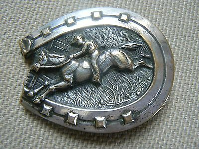 Rare Antique French Horse & Jockey Shoe Lapel Collar Button Plate Large 2 Avail