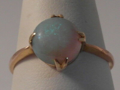 991F Ladies 14Ct Gold Opal Solitaire Ring Size S 1/2