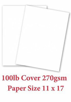 White Card Stock Paper - 11x17 - Heavyweight 100lb Cover 270gsm - 50 Pk