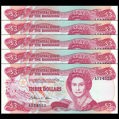 Lot 5 PCS, Bahamas 3 Dollars, 1974(1984), P-44, UNC