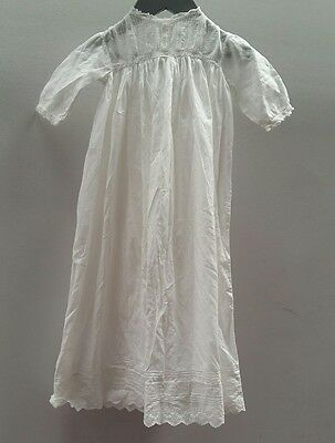 Vintage White Christening Dress w/ Lacework Newborn Baby <C2870