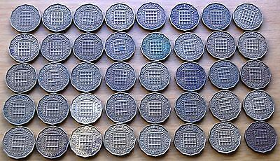 Bulk Lot Of 40 Queen Elizabeth II Threepence 3d Coins 1953-1967